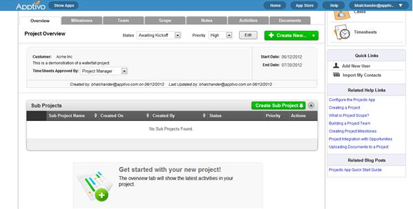Apptivo project dashboard