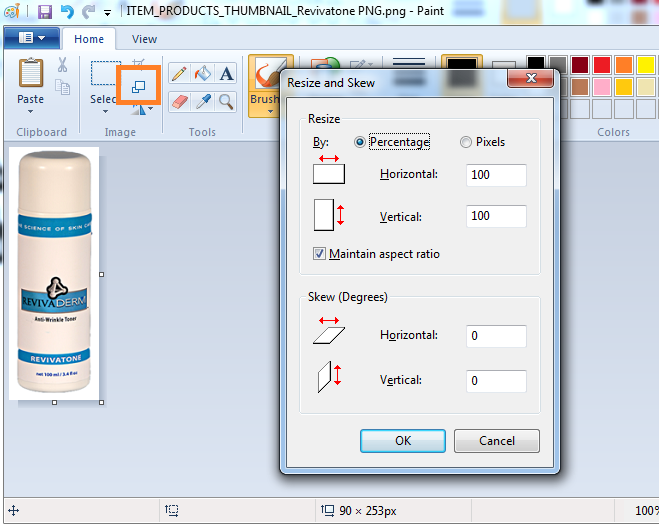 Image Resize Tool MS Paint