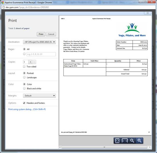 Example Print Receipt