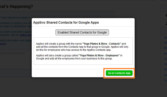 go to contacts