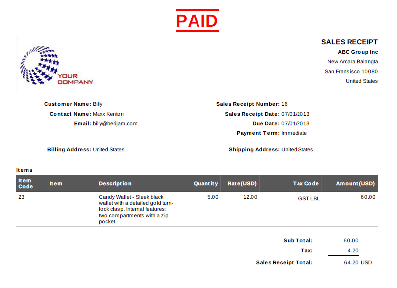 Print PDF sales receipt