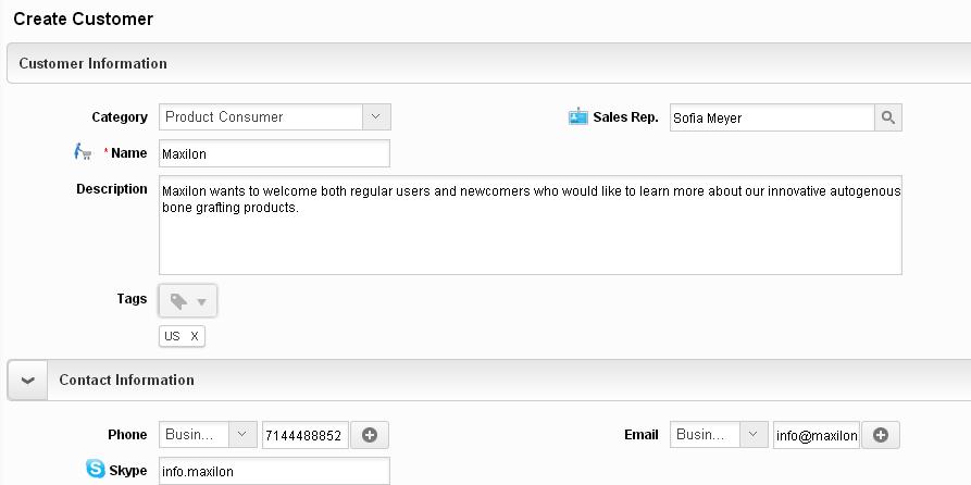 create customers