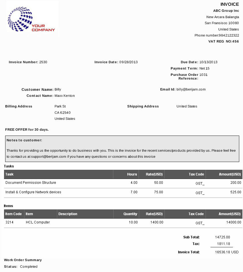 created invoices