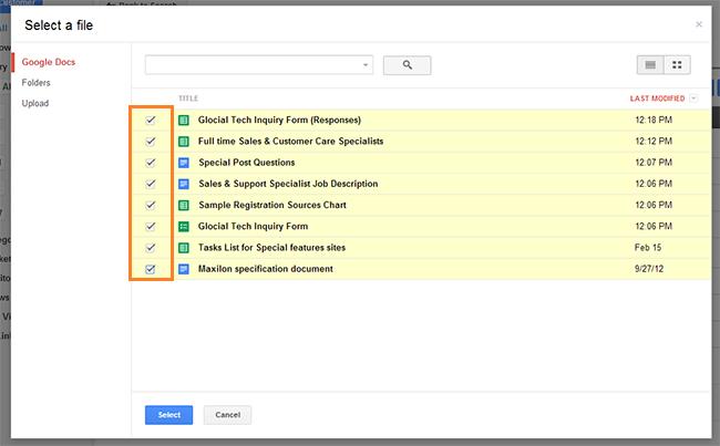 Google Document Selection