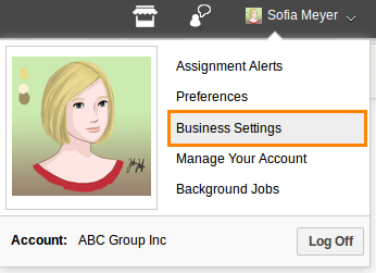 business settings select