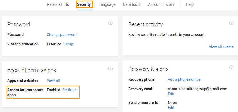 let less secure apps access your account