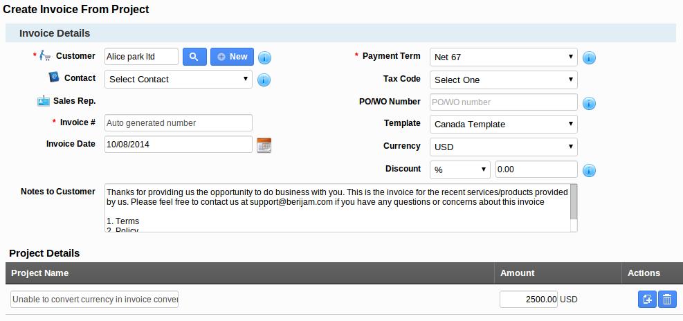 create invoice project