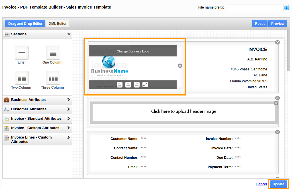 upload business logo in invoices
