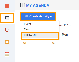 Create Follow up - My Agenda