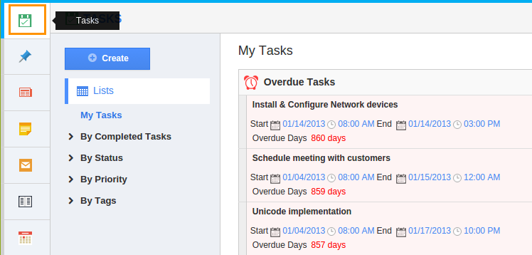 Tasks menu displays first