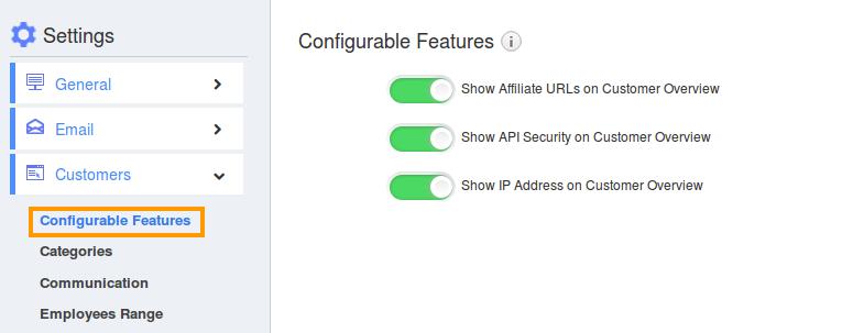 Customer Configurable Features