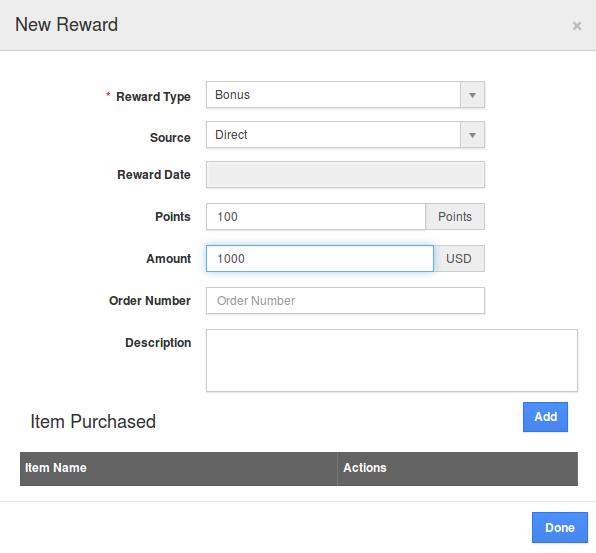 New Reward popup