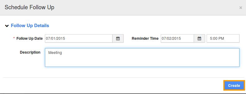 create schedule Followup
