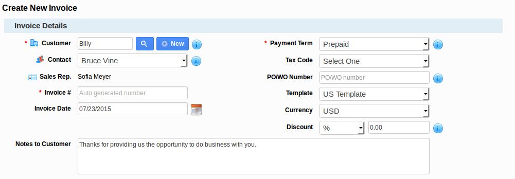 Create New Invoice