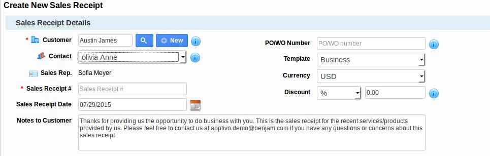 Sales Receipt Creation