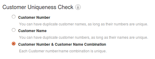 Customer Numbering Setting Page
