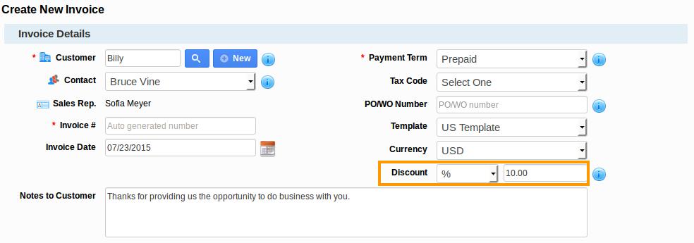 Discount in Create Invoice