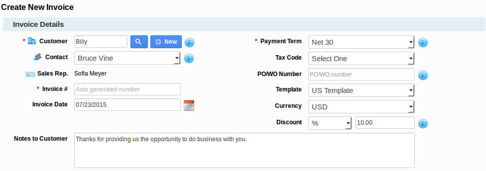 Payment Term in Invoice