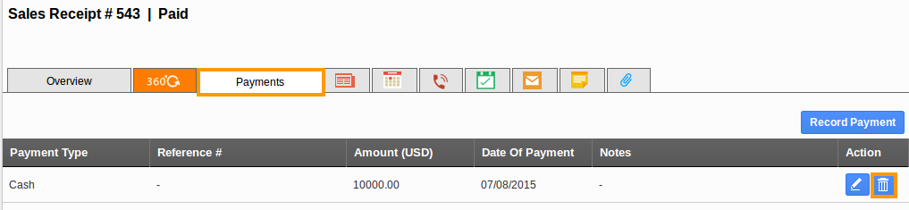 Payments Tab