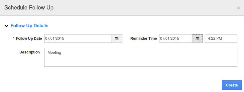 schedule followup popup