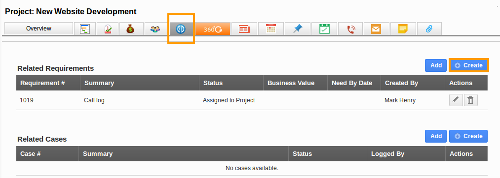 Create Requirement From Project