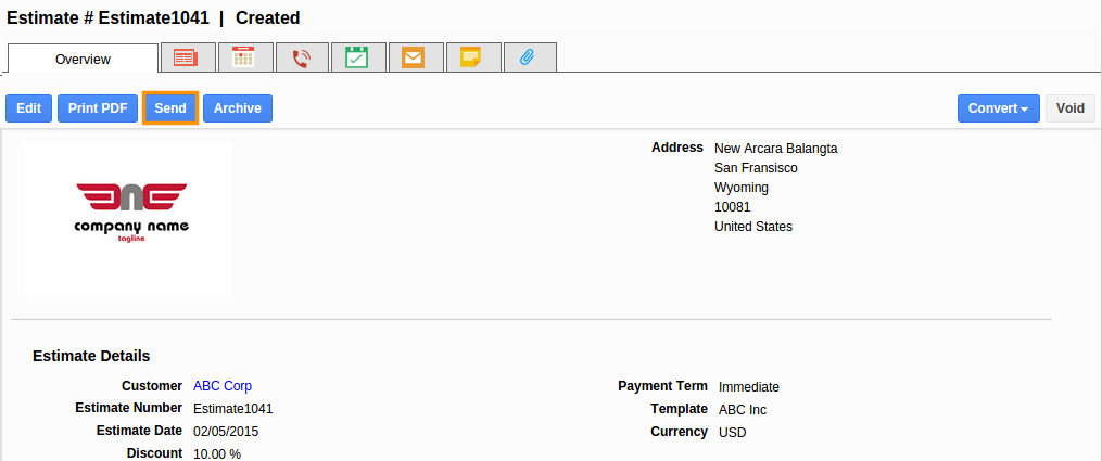 how to send estimate to email from ultramate