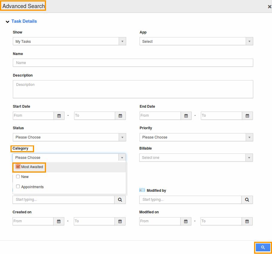 tasks advance search page