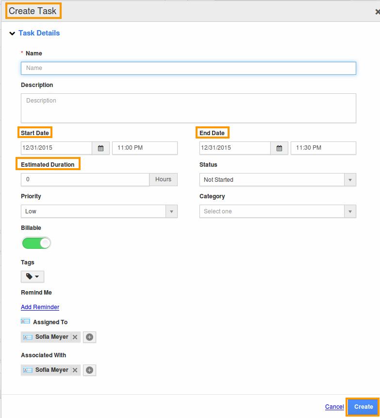 tasks create page