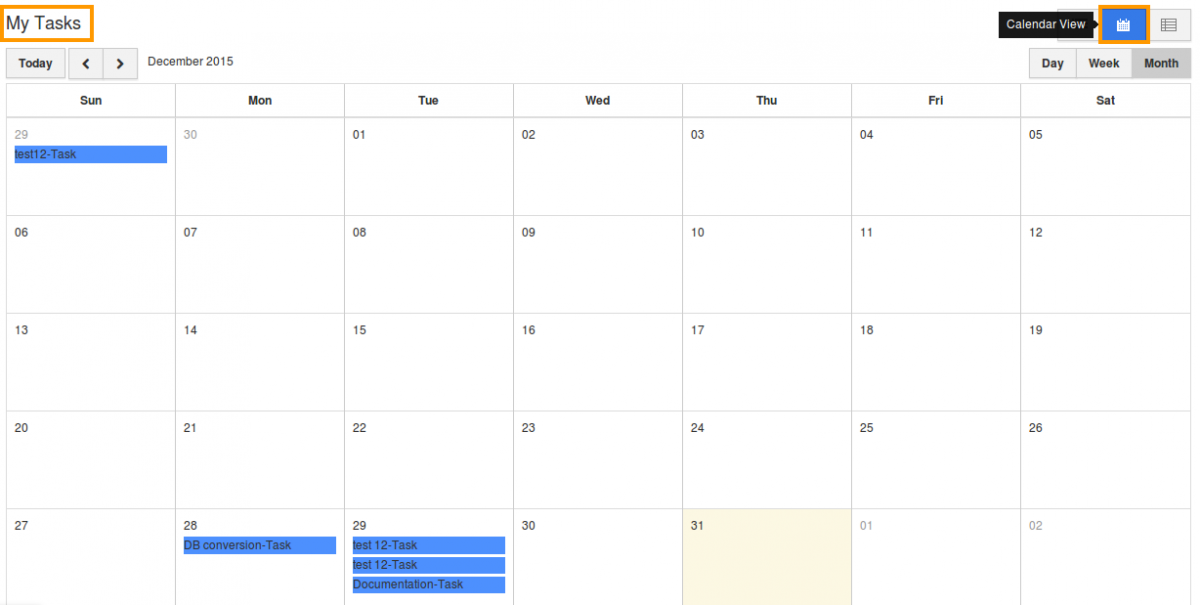 tasks in calendar view
