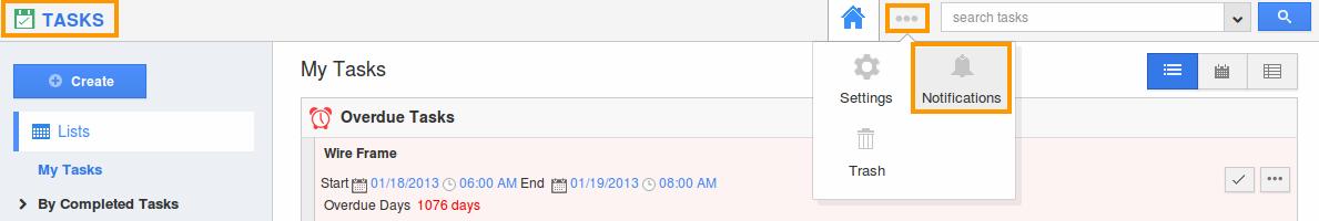tasks notification option