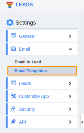 Email template in lead