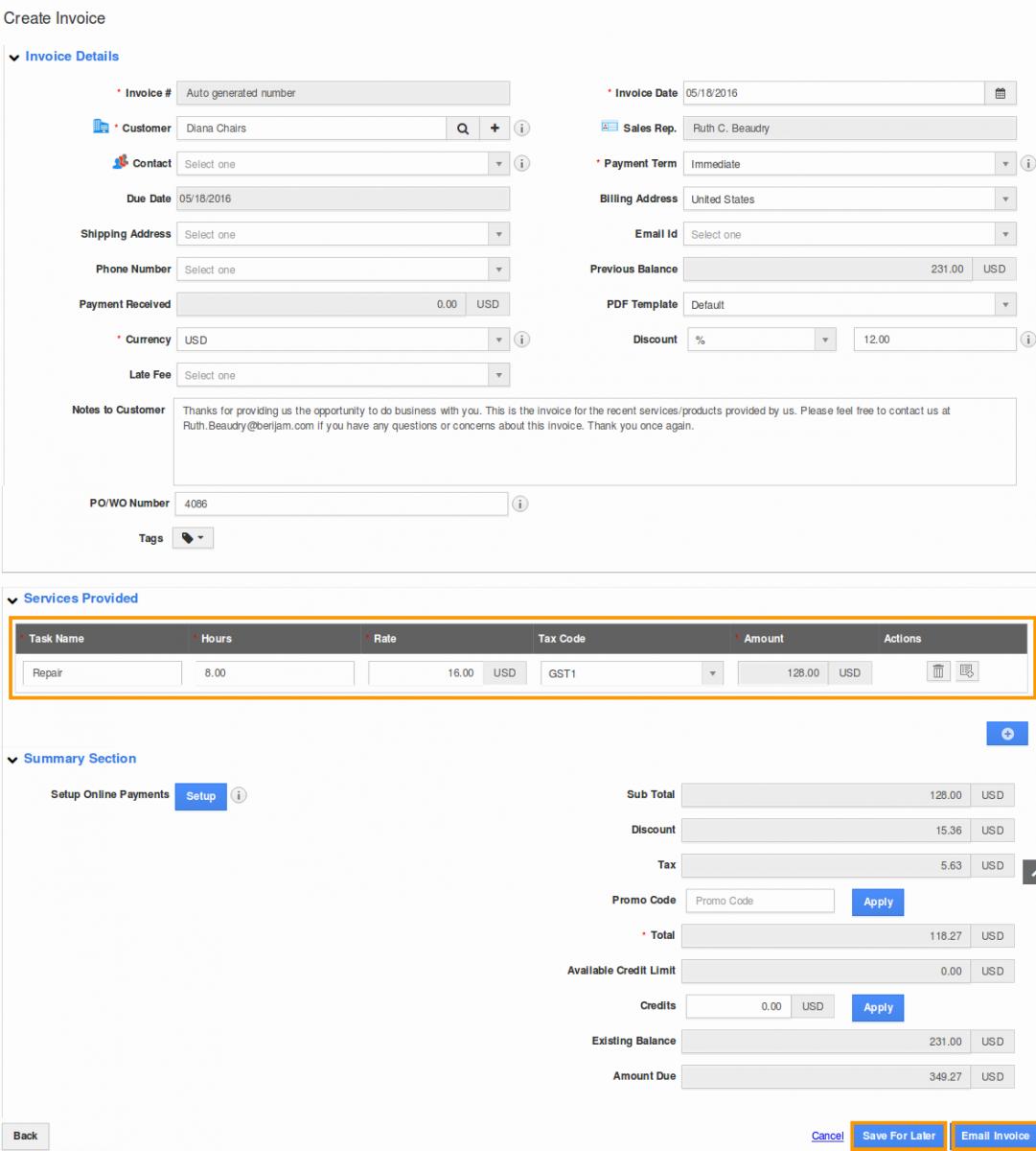 Create Invoice Services