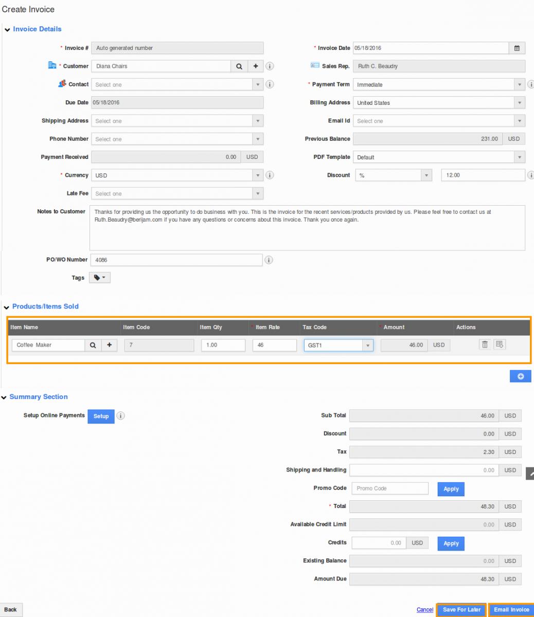 create invoice item