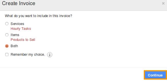 create invoice popup