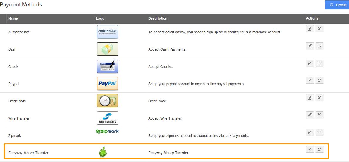 create payment method page