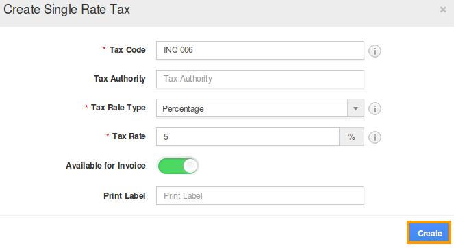 Create Single Rate Taxes