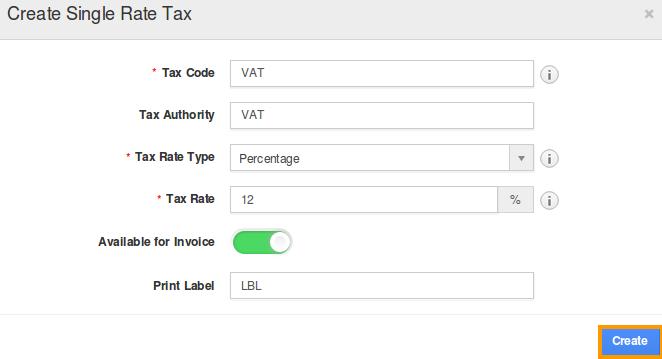 create taxes
