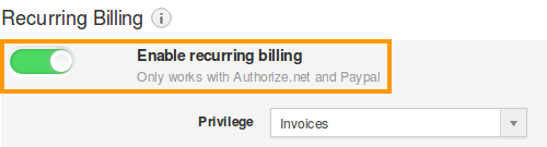 Enable Recurring Billing