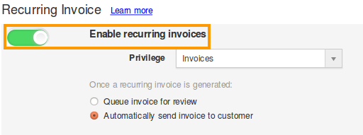 Enable Recurring Invoices