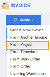 Click On U201cCreate Invoiceu201d Button And Choose U201cFrom Projectu201d In The Drop Down  From Left Navigation Panel.  Create A Invoice