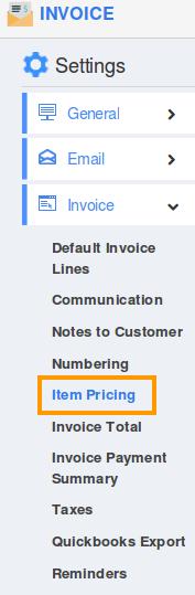 item pricing settings