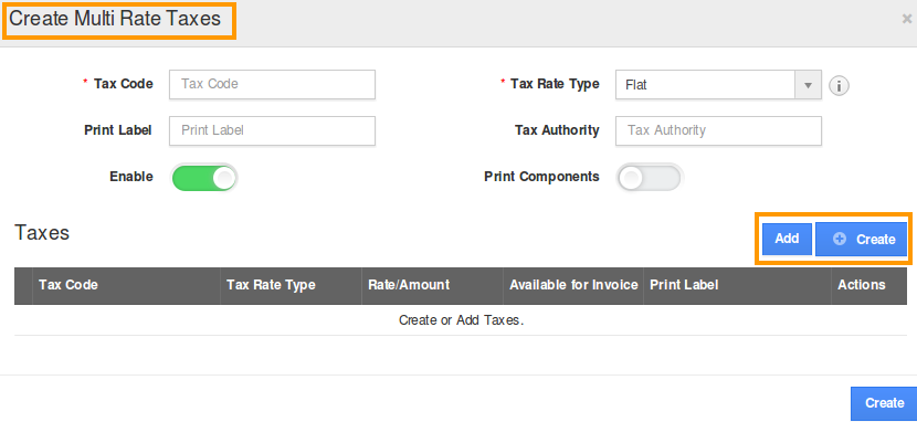 multi rate tax popup