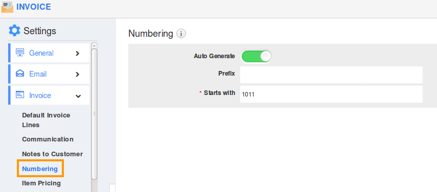 How Do I Customize Invoice Number Generation? | Apptivo Faq