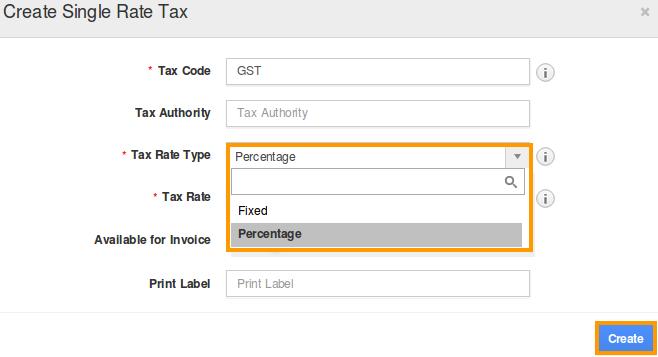 Percentage Tax Rate Type