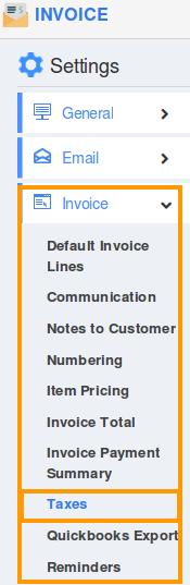 taxes settings