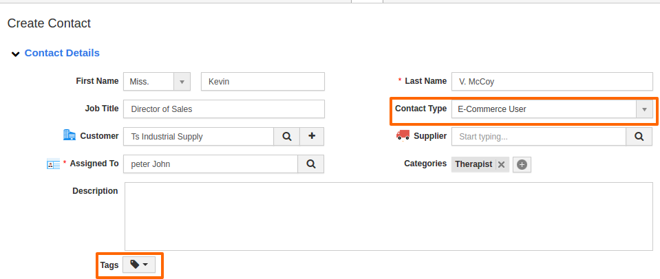 create page of contacts