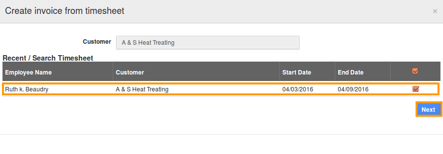 Search Timesheets to add