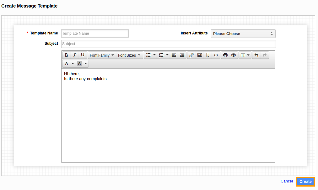 Create Message Template Page