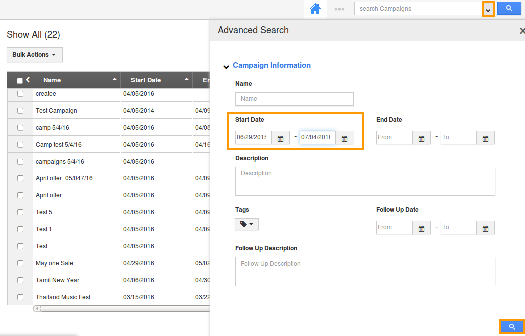 advanced search fileds