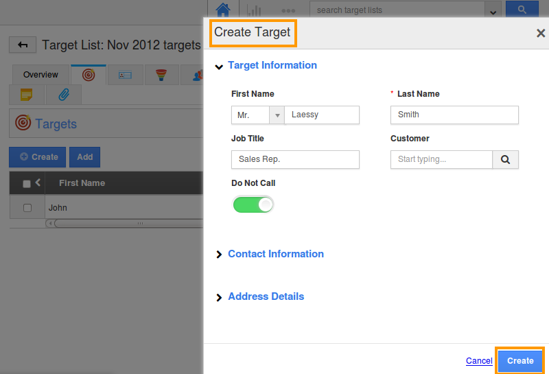 Create Target